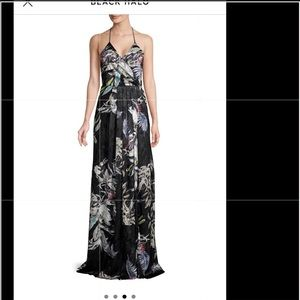 Black Halo Blidge Halterneck Floral Gown